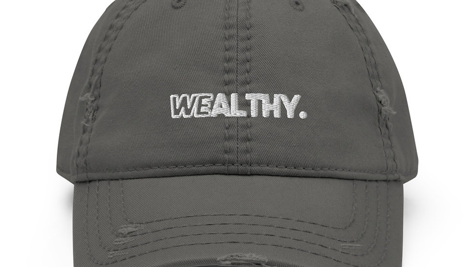 Gray Wealthy Distressed Dad Hat