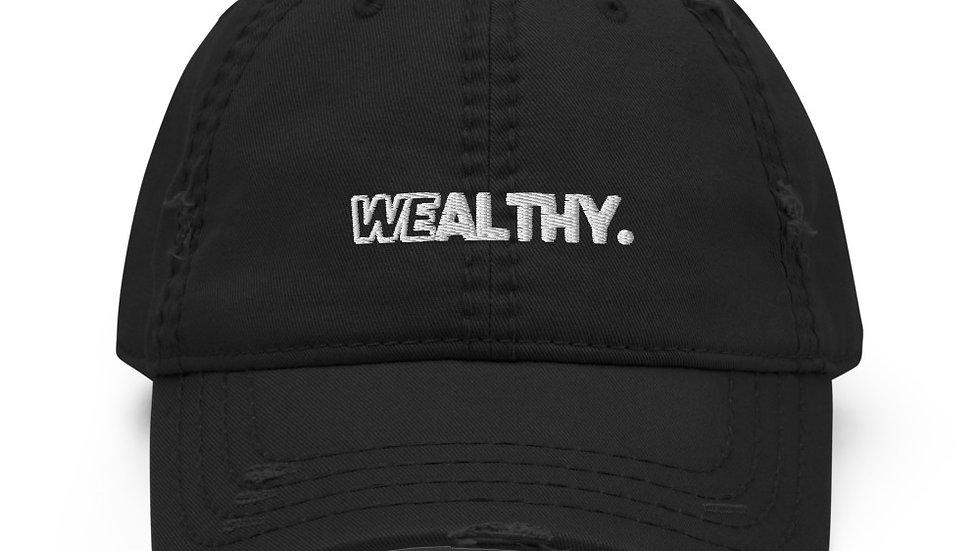 Black Wealthy Distressed Dad Hat