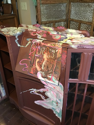 Lori Holdread - Smoke. Dresser with woman painted on it.