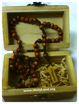 Holy Land Olive wood Catholic Rosary with wood Box