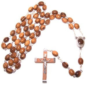 Olive Wood Pewter  Rosary with holy water from Holy Land