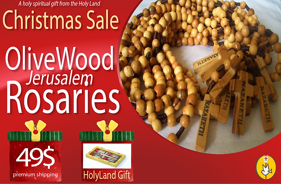 12 Olivewood Rosaries from Bethlehem + GIFT