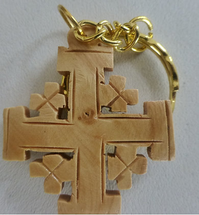 Olive Wood Cross Key Chain