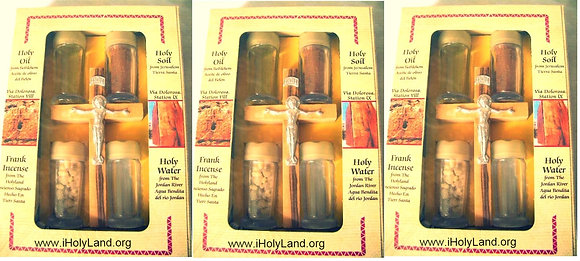 3 Pack Holy water, Holy Oil + Olive wood Rosary