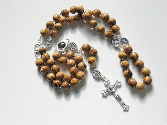 OliveWood Rosary with Holy Earth in Centerpiece