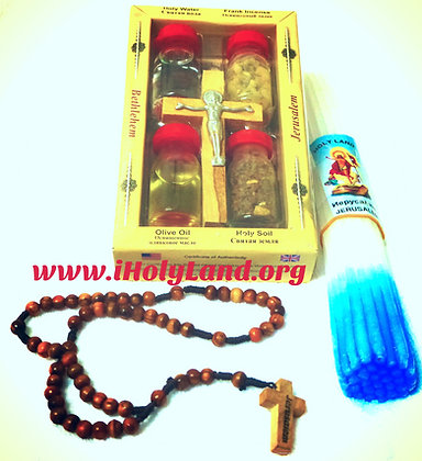 Holy water from jordan river+ olive wood rosary
