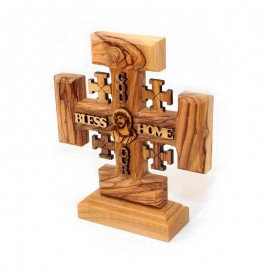 Olive Wood Crucifix with stand  God Bless our Home