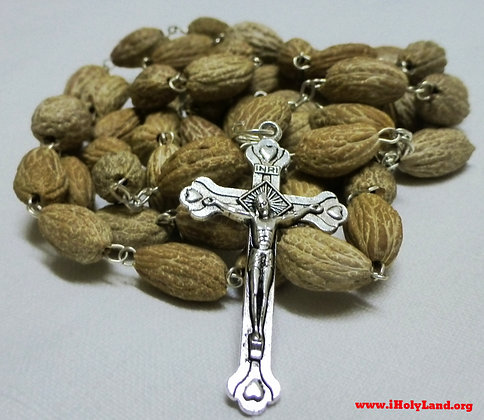 Olive Seeds Beads Rosary with Holy Earth in Center