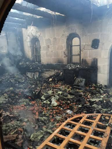 Fire fabricated from terrorists in Tabgha Church in Galilee - Holy Land
