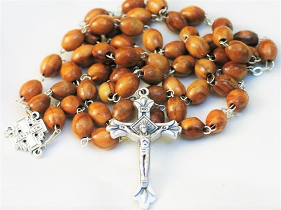 Olive wood beads Rosary made with Silver cross