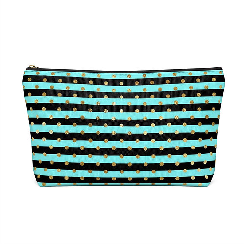 Stripes and Gold Accessory Pouch/Make Up Bag