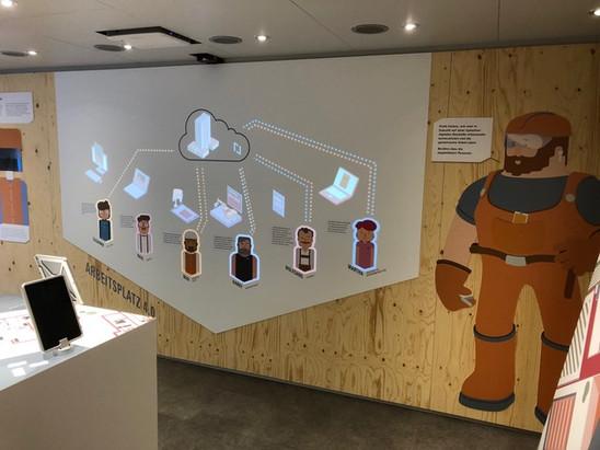 Durch das Berühren der Personen auf der interaktiven Wand, wird dem Besucher das Thema Building Information Modeling (BIM) erklärt.