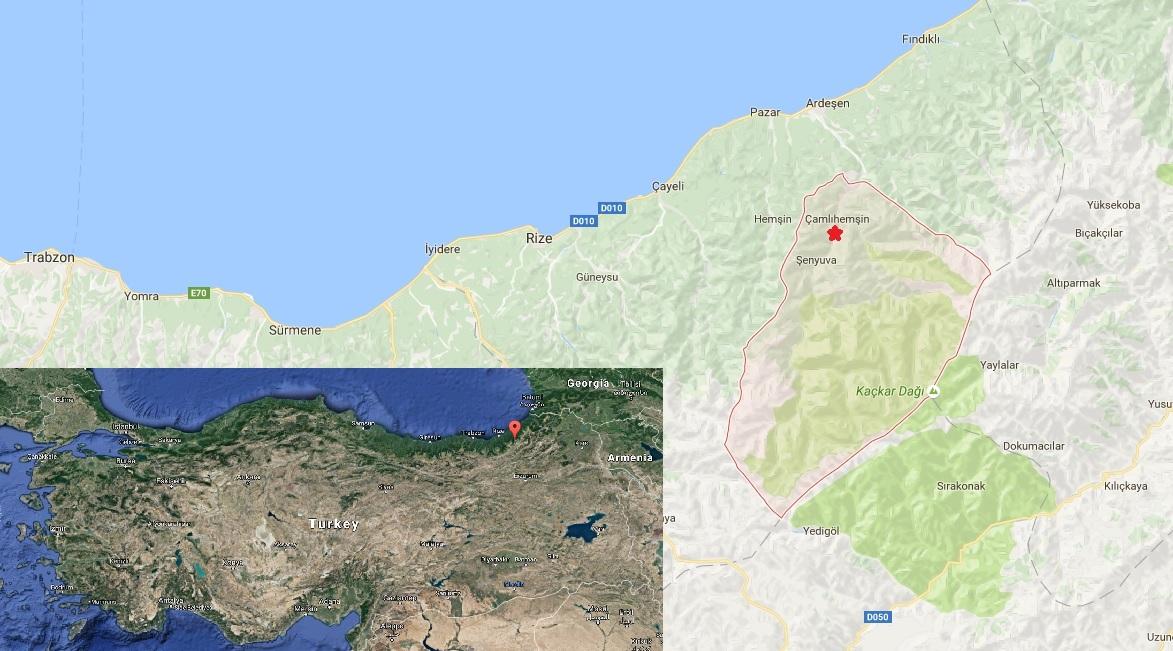 Çamlıhemşin Türkiyedeki konumu