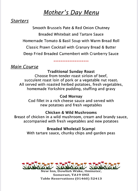 Mothers Day Menu 2020