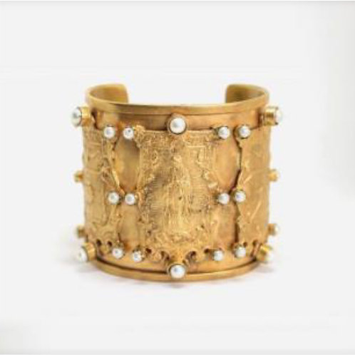Gold Plated Heart, Pearl Bracelet