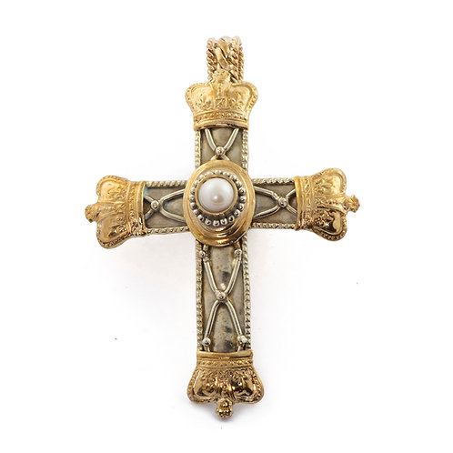 Cross Pendant with Pearl and Crown