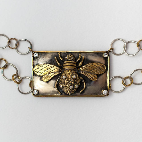 Bee with Center Plate Necklace