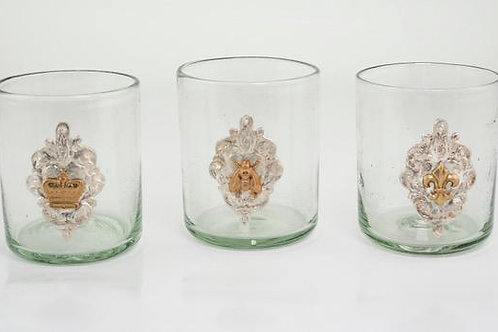 Milagro Glass Rox: crown, bee, fleur de lis
