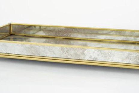 Debora Tray Rectangular brass trim