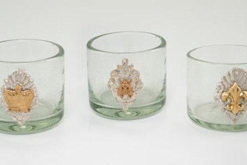 Milagro Shot Glass/Votive: crown, bee, fleur de lis