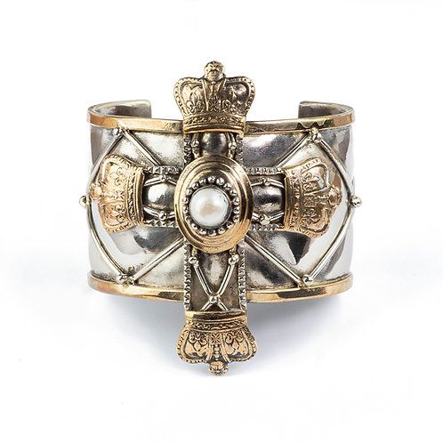 Large Cross Bracelet with Pearl and Crown
