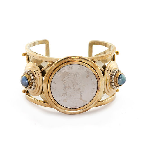 Allende Coin and blue/grey Pearls Bracelet