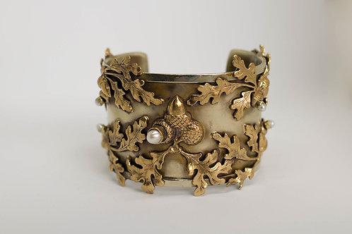 Acorn and Pearl Cuff Bracelet