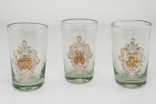 Milagro Glass Tequilero: crown, bee, fleur de lis