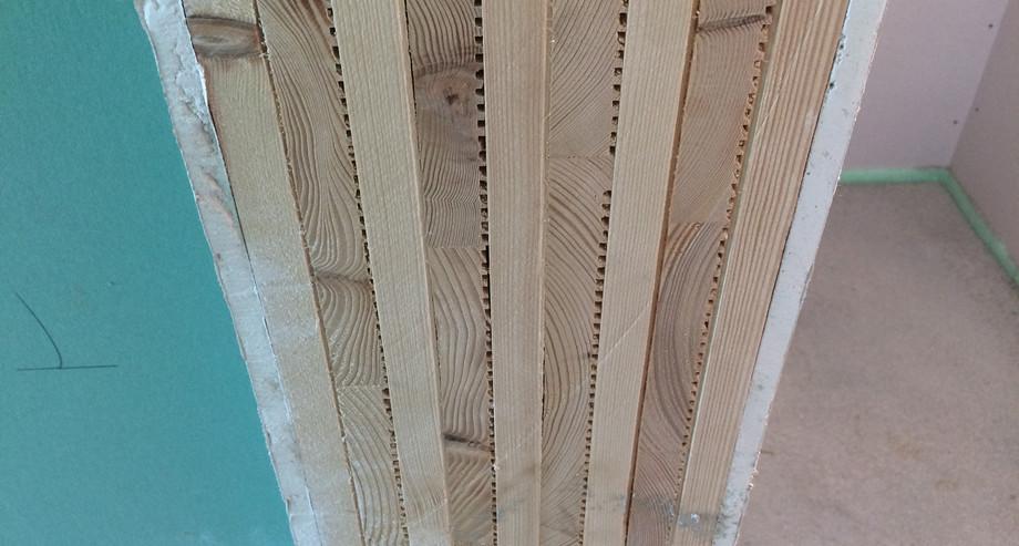 Innenwand mit Massiv-Holz-Mauer® und Gipskarton
