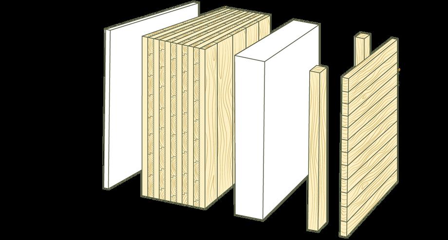Querschnitt Massiv-Holz-Mauer® mit Holzfassade