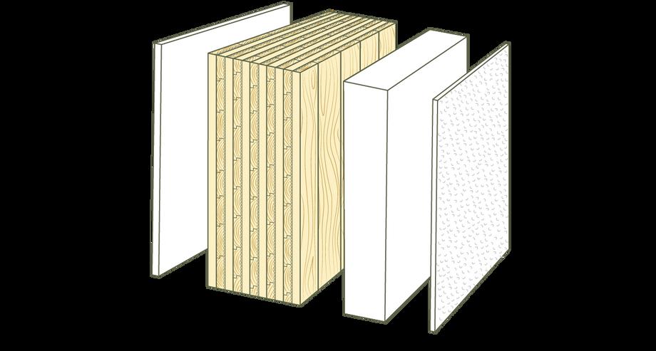 Querschnitt Massiv-Holz-Mauer® mit Putzfassade