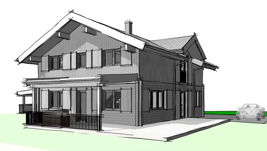 Wohnhaus mit Nebendächern in Massiv-Holz-Mauer®
