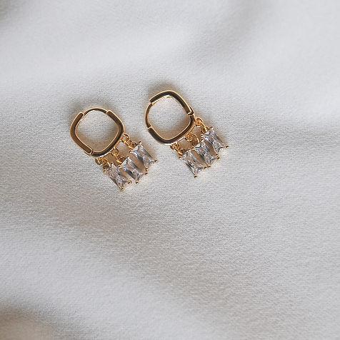 """Raindrop Huggies"" 18k gold plated square huggies with cubic zirconia pendants"