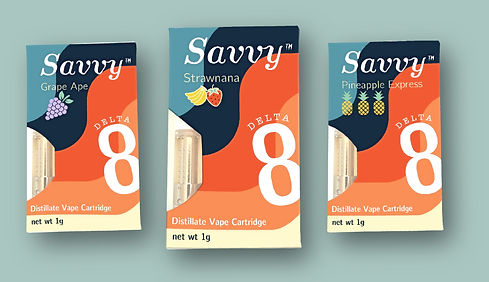 Savvy Delta-8-THC Cartridges in Grape, Strawnana, and Pineapple Express Boxes