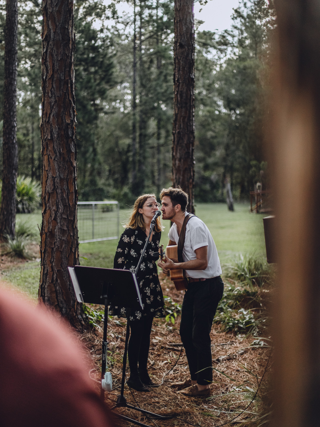 """Sunshine Coast wedding singers """"The Famo's"""" perform at a Newley wedded couples ceremony at Noosa's wedding venue 'The Barn"""" ."""