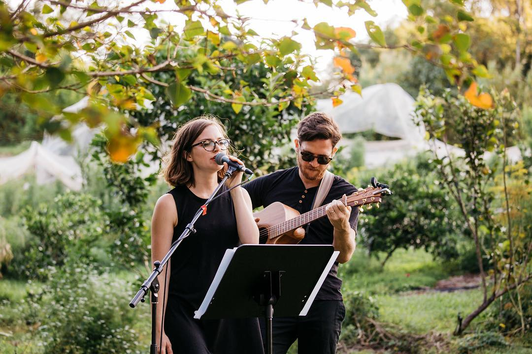 "Wedding singers ""The Famo's"" singing during a Hinterland Wedding Ceremony on the Sunshine Coast."