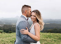 Just married couple having photo taken in Montville on the Sunshine Coast