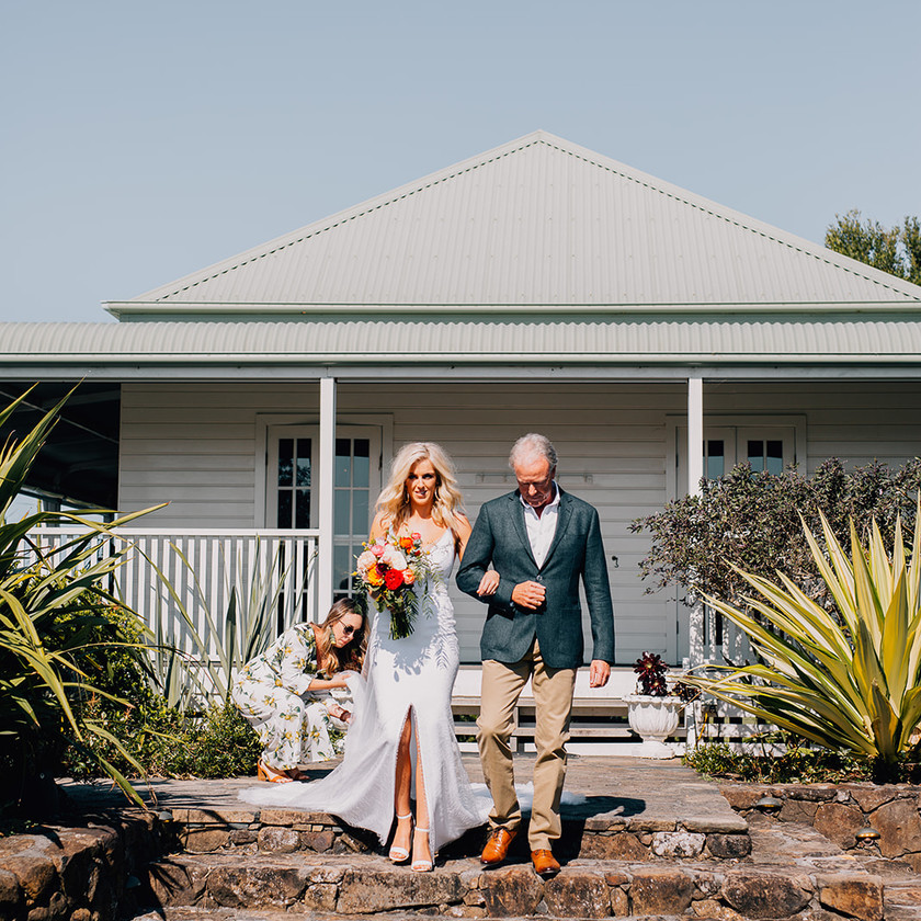 Bride and Father walk down the Aisle at Byron View Farm, Byron Bay