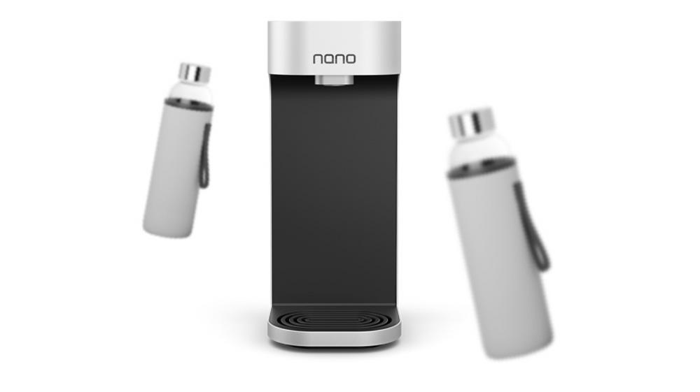 Nano water dispenser with reusable bottles