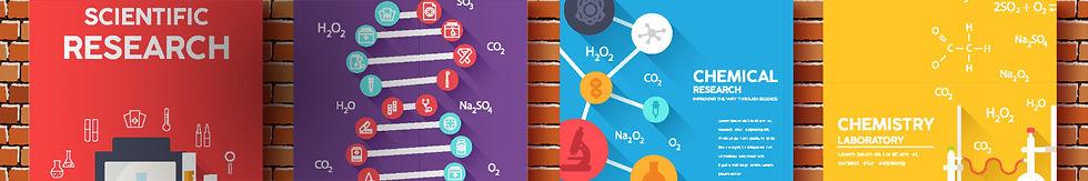 Scientific book set illustrating certain molecules