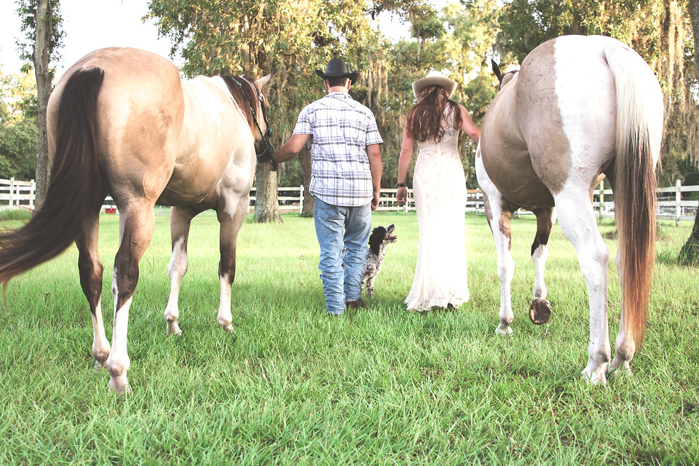 This couple included their dog and horses in their session