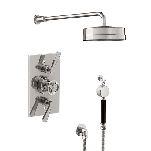 """TT8738 Ten Ten Therm Concealed Dual Outlet Shower Valve With 8"""" Rose & Handset"""