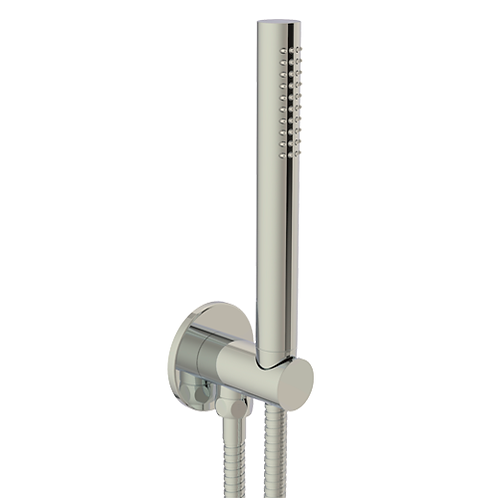 JTP Inox Round Water Outlet with Holder Plastic Hose Slim Hand Shower