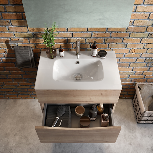 Crosswater Glide II 700 Vanity Unit Windsor Oak Lifestyle Image