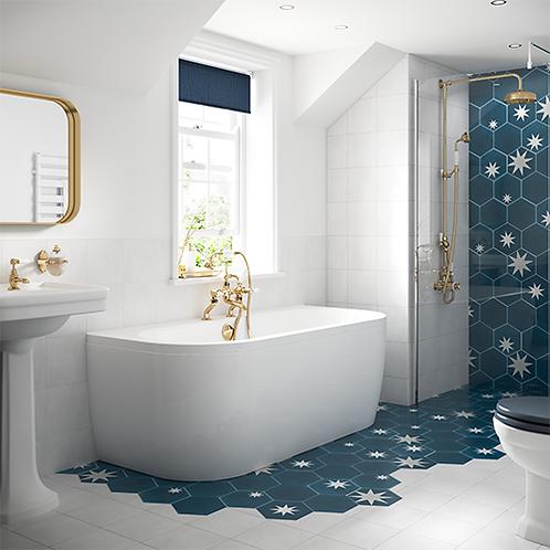 Solid Blue Monreale Back To Wall Bath