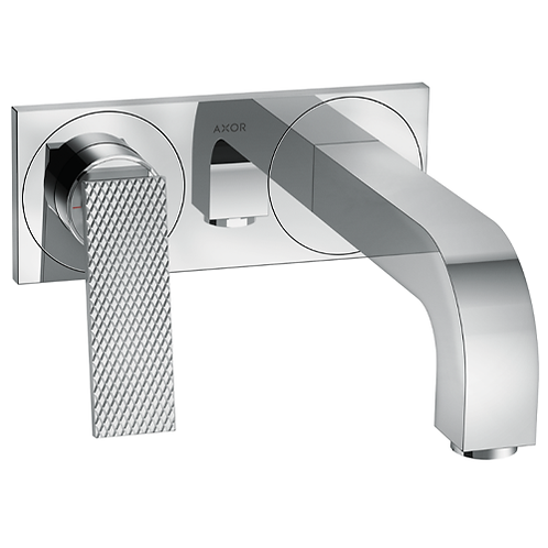 Axor Citterio Single Lever Wall Mounted Basin Mixer - 220mm Spout - rhombic cut