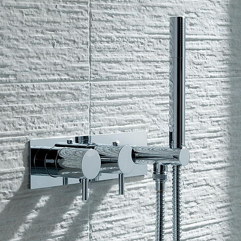 JTP Florence Thermostatic Concealed 2 Outlet Shower Valve with Attached Handset