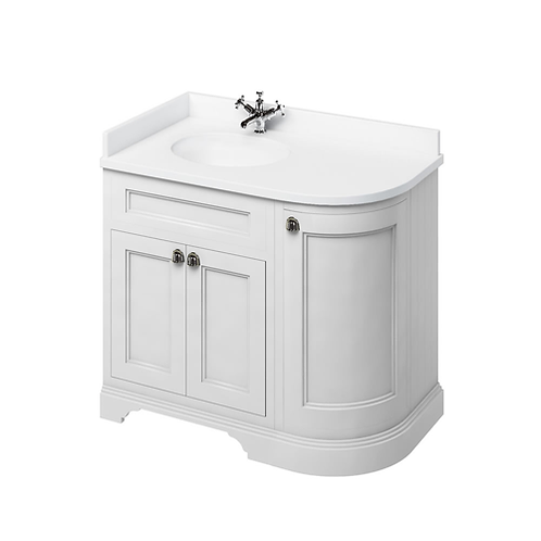 Freestanding 100 LH Curved Corner Unit with White Worktop