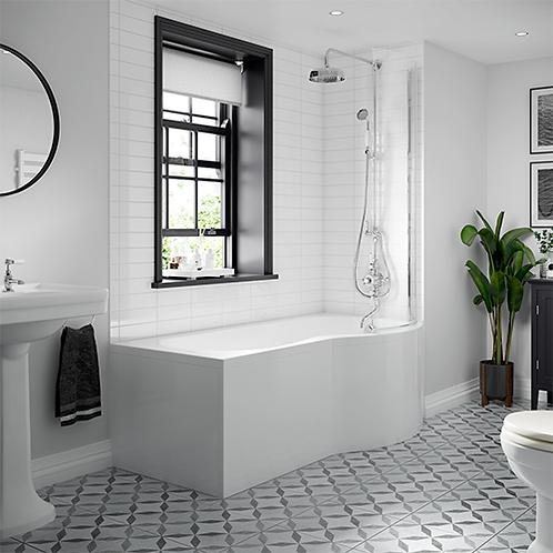 P-Shape Shower Bath & Screen