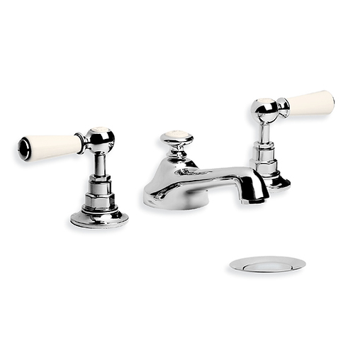 WL1220 White Lever Basin Mixer With Pop Up Waste